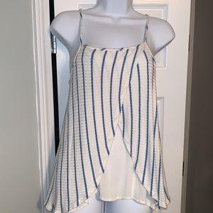 cream tank w/blue stripes that swing open